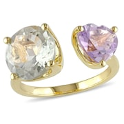 Allegro STP000190-10, 5 CT TGW Green Amethyst and Rose de France Ring in Yellow Plated Sterling Silver