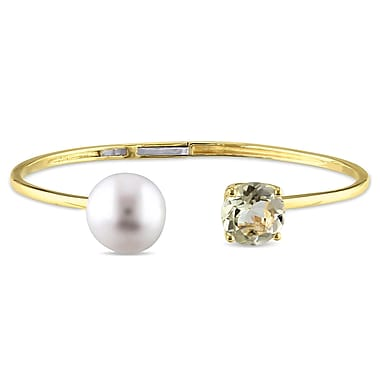 Allegro 12-12.5mm White Freshwater Cultured Pearl & 3 1/3CT TGW Lemon Quartz Cuff Bangle in Yellow Plated Sterling Silver, 7