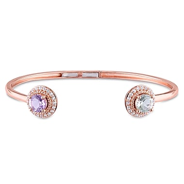 Allegro STP000196, Rose de France, Green Amethyst & White Topaz Open Cuff Bangle in Rose Plated Sterling Silver, 7