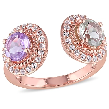 Allegro STP000197-8, Rose de France, Green Amethyst & White Topaz Open Band Halo Ring in Rose Plated Sterling Silver, Size 8