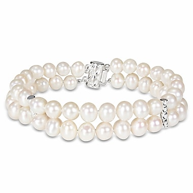 Allegro STP000200, Freshwater Cultured Pearl Double-Row Bracelet with Sterling Silver Dividers & Clasp, 7
