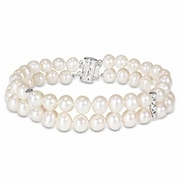 Allegro STP000200, Freshwater Cultured Pearl Double-Row Bracelet with Sterling Silver Dividers & Clasp, 7""
