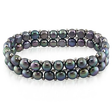 Allegro STP000204, Black Freshwater Cultured Pearl & Silverstone Bead Double-Row Stretch Bracelet, 7