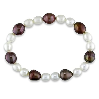 Allegro STP000207, 6-9 MM White & Brown Freshwater Baroque Cultured Pearl Stretch Bracelet, 7
