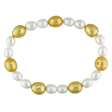 Allegro STP000209, 6-9 MM White & Orange Freshwater Baroque Cultured Pearl Stretch Bracelet, 7