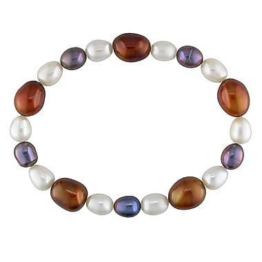 Allegro STP000211, 6-9 MM White, Brown & Black Freshwater Baroque Cultured Pearl Stretch Bracelet, 7
