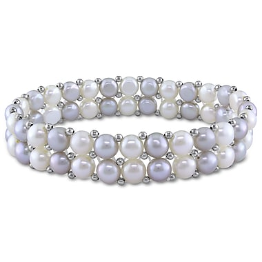 Allegro STP000212, Light Grey & White Freshwater Cultured 2-Row Pearl Stretch Bracelet with brass beads, 7