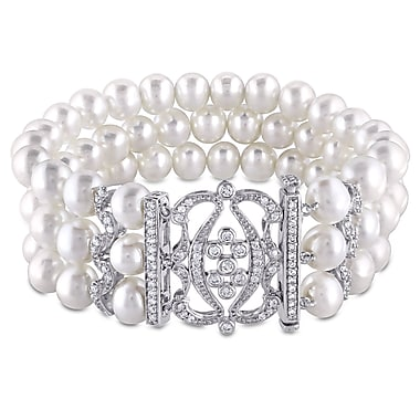 Allegro STP000214, 6.5-7mm White Freshwater Cultured Pearl Bracelet with Cubic Zirconia in Sterling Silver, 7