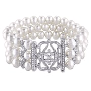 Allegro STP000214, 6.5-7mm White Freshwater Cultured Pearl Bracelet with Cubic Zirconia in Sterling Silver, 7""