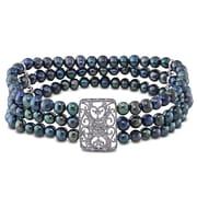 Allegro - Bracelet élastique, 3 rangs, perles noires, séparateurs en argent sterling et fermoir en zircon cubique, 7 po