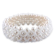 """Allegro STP000221, Freshwater Cultured Pearl & Glass 4-Row Stretch Bracelet, 7"""""""