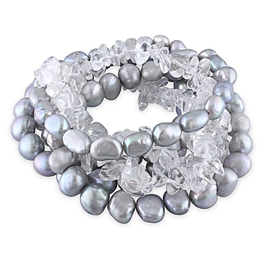 Allegro STP000223, 6-9 MM Grey Freshwater Baroque Cultured Pearl & Crystal Stretch Bracelet Set w/Silver coloured Ribbon, 7