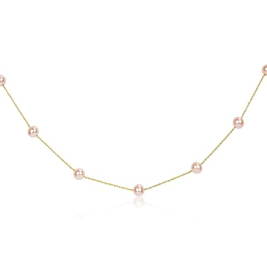Allegro STP000230, 5-6 MM Pink Freshwater Cultured Pearl Tin Cup Necklace on 14k Yellow Gold Rope Chain, 16.5