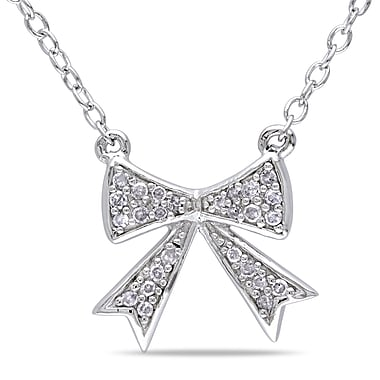 Allegro STP000234, 1/10 CT TW Diamond Bow Necklace in Sterling Silver, 18