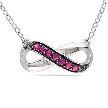 Allegro STP000236, Pink sappahire Accent Infinity Necklace in Sterling Silver with Black Rhodium, 18