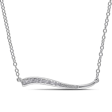 Allegro STP000241, Diamond Curved Bar Necklace in Sterling Silver, 18