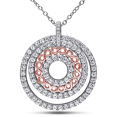Allegro STP000242, Diamond & Created White sappahire Circle Tiered Pendant w/Chain in 2-Tone Rose & White Sterling Silver, 18
