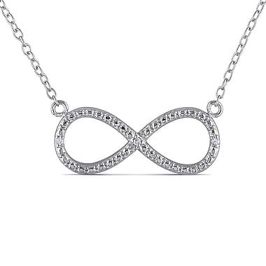 Allegro STP000247, Diamond Infinity Necklace in Sterling Silver, 18