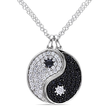 Allegro STP000249, Created White sappahire & Black Spinel Accent 'S' Pendant w/Chain in Sterling Silver w/Black Rhodium, 18