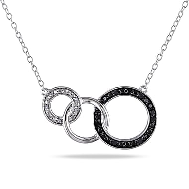 Allegro STP000251, 1/10 CT TW Diamond Circle Link Necklace in Sterling Silver with Black Rhodium, 17