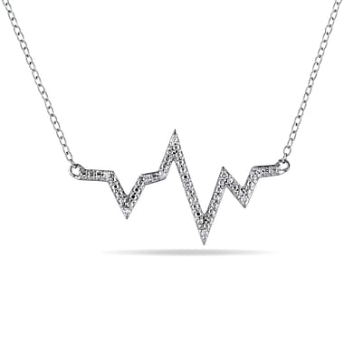 Allegro STP000257, Diamond Heartbeat Necklace in Sterling Silver, 18