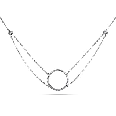 Allegro STP000260, 1/10 CT TW Diamond Circle Necklace with Chain in Sterling Silver, 19