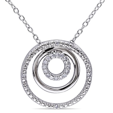 Allegro STP000261, 1/10 CT TW Diamond Circle Pendant with Chain in Sterling Silver, 18