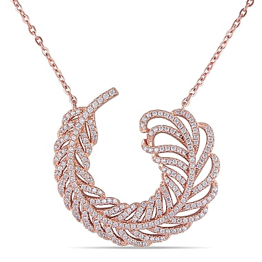 Allegro STP000262, Cubic Zirconia Feather Necklace in Pink Plated Sterling Silver, 19