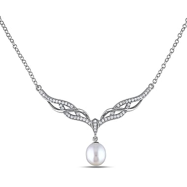 Allegro STP000264, 8.5-9 MM White Freshwater Cultured Pearl & Cubic Zirconia Chevron Drop Necklace in Sterling Silver, 18