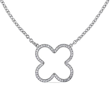 Allegro STP000267, Cubic Zirconia Clover Necklace in Sterling Silver, 18