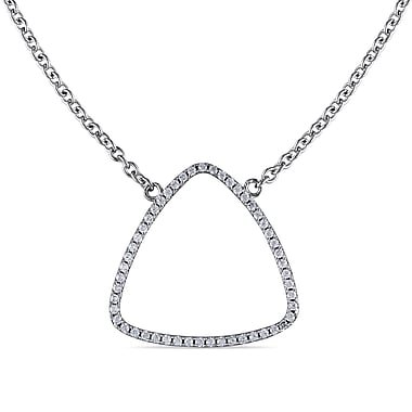 Allegro STP000269, Cubic Zirconia Geometric Necklace in Sterling Silver, 18