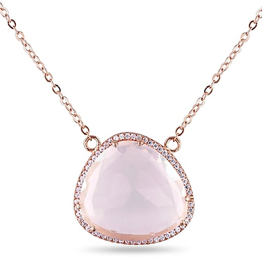 Allegro STP000271, 3 CT TGW Rose Quartz & White Topaz Necklace in Rose Plated Sterling Silver, 16