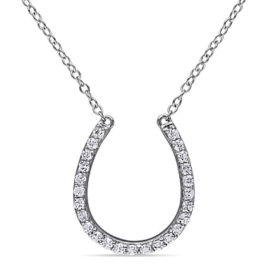 Allegro STP000272, White Topaz Horseshoe Necklace in Sterling Silver, 17