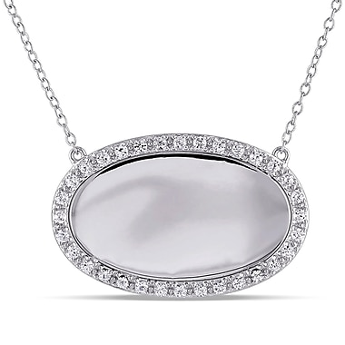 Allegro STP000278, Created White sappahire Oval Halo Necklace in Sterling Silver, 18