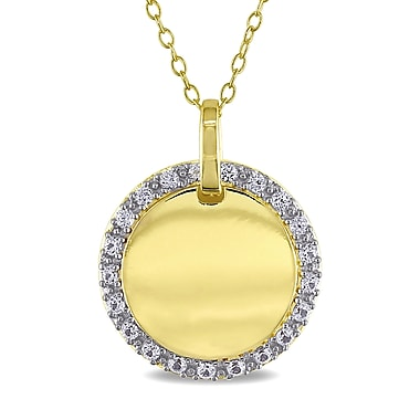 Allegro STP000289, Created White sappahire Halo Pendant with Chain in Yellow Plated Sterling Silver, 18