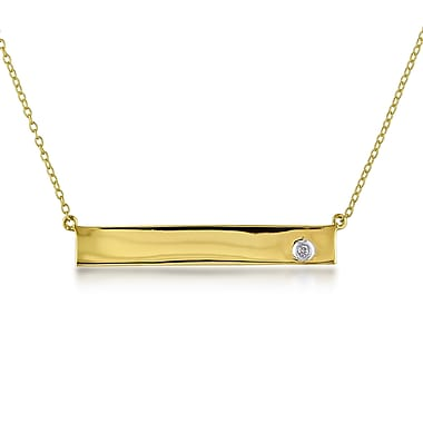 Allegro STP000291, Diamond Bar Necklace in Yellow Plated Sterling Silver, 17
