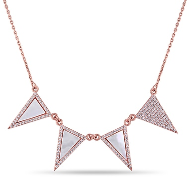 Allegro STP000293, Cubic Zirconia Geometric Necklace in Pink Plated Sterling Silver, 18