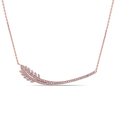 Allegro STP000295, Cubic Zirconia Organic Necklace in Pink Plated Sterling Silver, 18