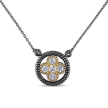 Allegro STP000301, Cubic Zirconia Floral Necklace in Yellow Plated Sterling Silver with Black Rhodium, 17