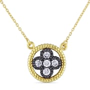 """Allegro STP000302, Cubic Zirconia Floral Necklace in Yellow Plated Sterling Silver with Black Rhodium, 17"""""""