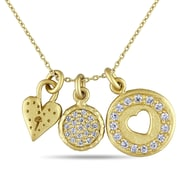 """Allegro STP000305, Cubic Zirconia Heart Charm Necklace in Yellow Plated Sterling Silver, 17"""""""