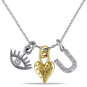 """Allegro STP000306, Cubic Zirconia I-Love-You Charm Necklace in 2-Tone Yellow & White Sterling Silver, 17"""""""