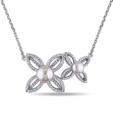 Allegro STP000307, White Freshwater Cultured Pearl & Cubic Zirconia Flower Necklace in Sterling Silver, 18