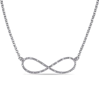 Allegro STP000319, 1/10 CT TW Diamond Infinity Necklace in Sterling Silver, 17