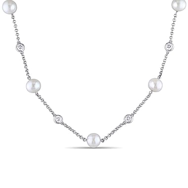Allegro STP000320, 8-8.5 MM White Freshwater Cultured Pearl & Created White sappahire Tin Cup Necklace in Sterling Silver, 19