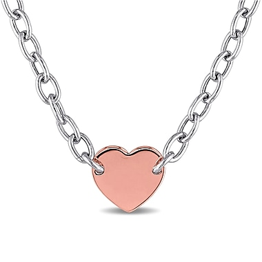 Allegro STP000321, Link Chain Heart Necklace in 2-Tone Polished Rose & White Italian Sterling Silver, 18