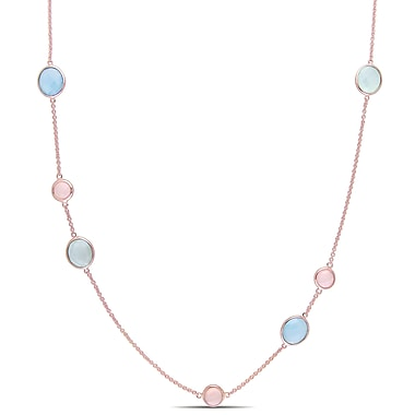Allegro STP000328, 16 1/2 CT TGW Blue, Green & Pink Chalcedony Station Necklace in Rose Plated Sterling Silver, 32