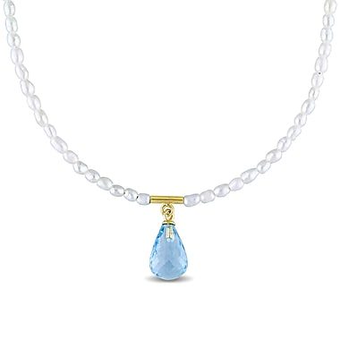 Allegro STP000331, Blue Topaz & White Freshwater Cultured Pearl Necklace in Yellow Plated Sterling Silver, 17