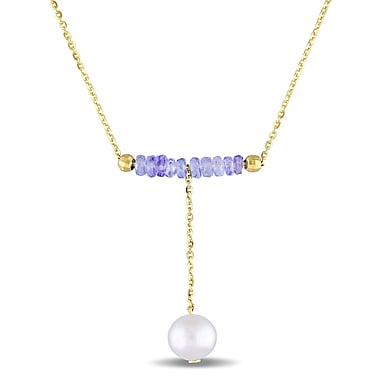 Allegro 3 1/5 CT TGW Tanzanite & 7.5-8 MM Freshwater Cultured Pearl Drop Necklace in Yellow Plated Sterling Silver, 17