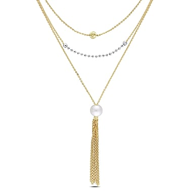 Allegro STP000341, 8-8.5 MM Freshwater Cultured Pearl Tiered Tassle Necklace in Yellow Plated Sterling Silver, 22